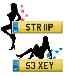 Naughty number plates, 53 XEY, STR 11P, B11 XOM