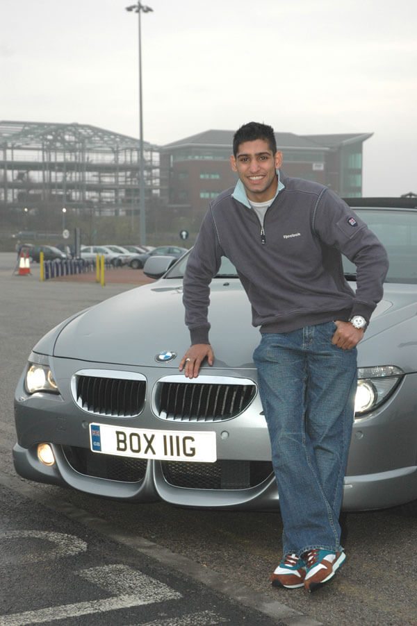 Amir Khan and his BOX 111G number pate promoting his chosen sport