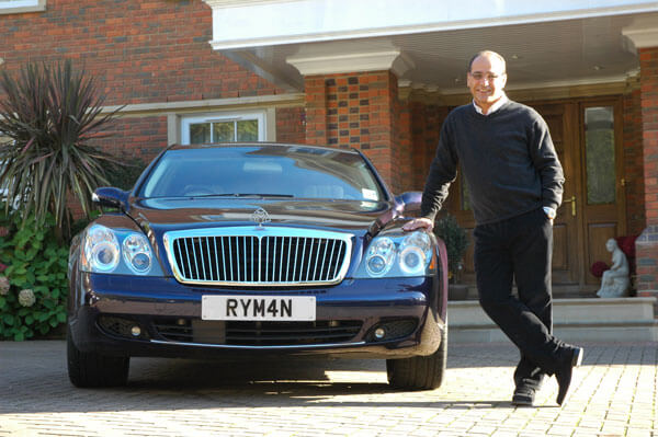 Theo Paphitis from Dragons Den with his very effective Ryman number plates