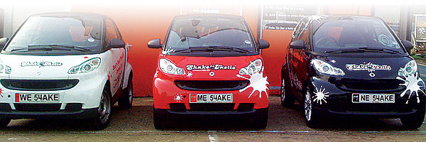 Shaketastic's branded Smart Cars and personal plates