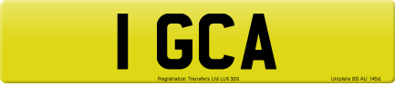 1 GCA private number plate