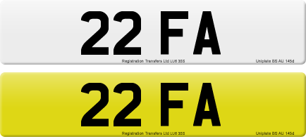 22 FA private number plate