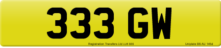 333 GW private number plate