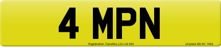 4 MPN private number plate