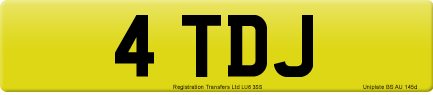 4 TDJ private number plate