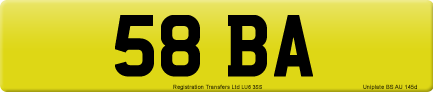58 BA private number plate