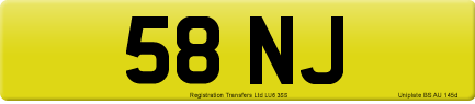 58 NJ private number plate