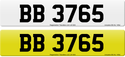 BB 3765 private number plate