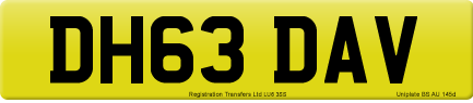 DH63 DAV private number plate