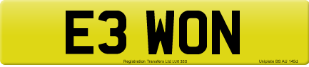 E3 WON private number plate
