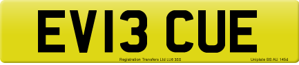 EV13 CUE private number plate