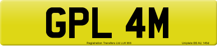 GPL 4M private number plate