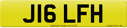 J16 LFH private number plate