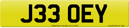 J33 OEY private number plate