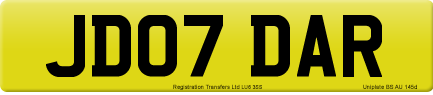 JD07 DAR private number plate