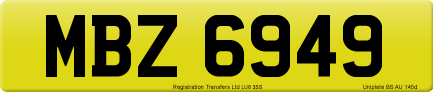 MBZ 6949 private number plate