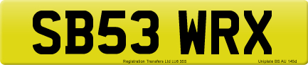 SB53 WRX private number plate