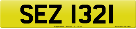 SEZ 1321 private number plate