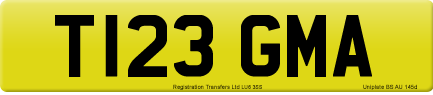 T123 GMA private number plate