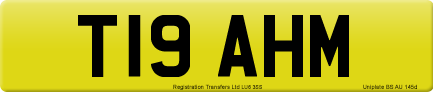 T19 AHM private number plate