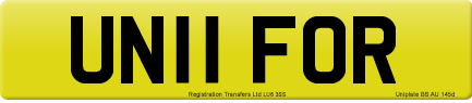 UN11 FOR private number plate