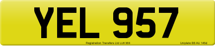 YEL 957 private number plate