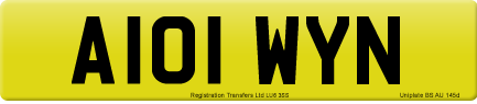 A101 WYN private number plate