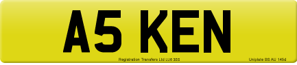 A5 KEN private number plate