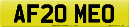 AF20 MEO private number plate