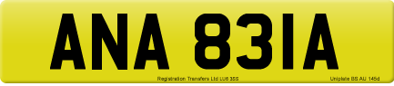 ANA 831A private number plate