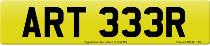 ART 333R private number plate