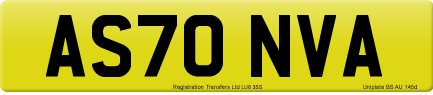 AS70 NVA private number plate