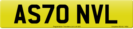 AS70 NVL private number plate