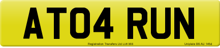 AT04 RUN private number plate