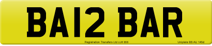 BA12 BAR private number plate