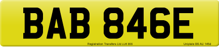BAB 846E private number plate
