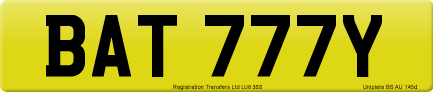 BAT 777Y private number plate