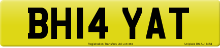 BH14 YAT private number plate