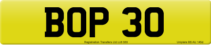 BOP 30 private number plate