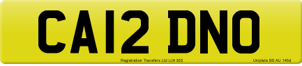 CA12 DNO private number plate