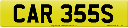 CAR 355S private number plate