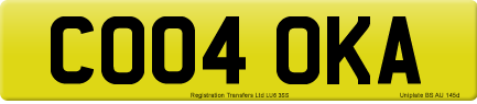 CO04 OKA private number plate