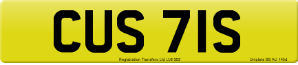 CUS 71S private number plate