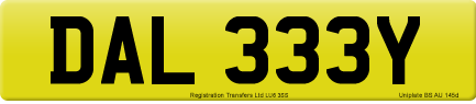 DAL 333Y private number plate
