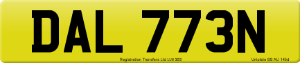 DAL 773N private number plate