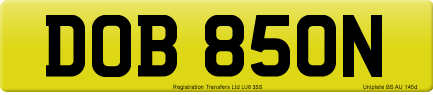 DOB 850N private number plate