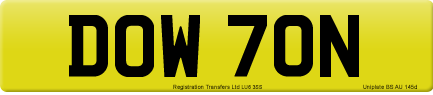 DOW 70N private number plate
