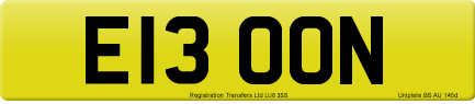 E13 OON private number plate