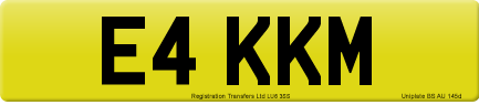 E4 KKM private number plate