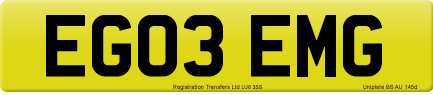 EG03 EMG private number plate